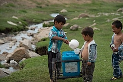 Kids Collecting Water from the River Mongolian Children Fetching Water