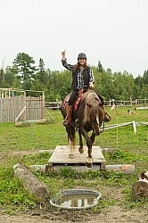 Shawn on Sabre Crossing the Bridge