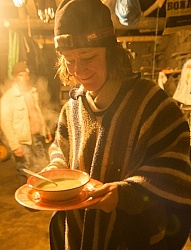Ali has hot soup in Angel s shed in the high Andes