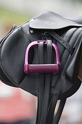 English Saddle with Pink Stirrups Eventing Stirrups