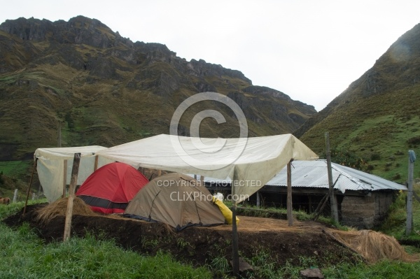 Camping in the High Andes at Angels farm